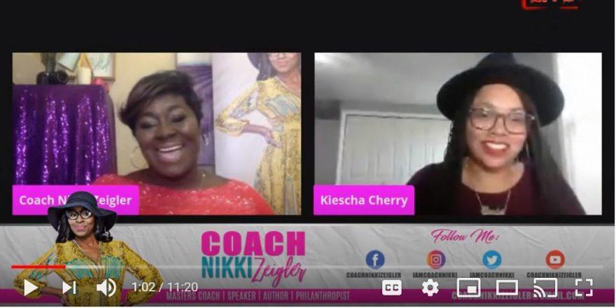 Photo of Coach Nikki Zeigler interviewing Kiescha Cherry.